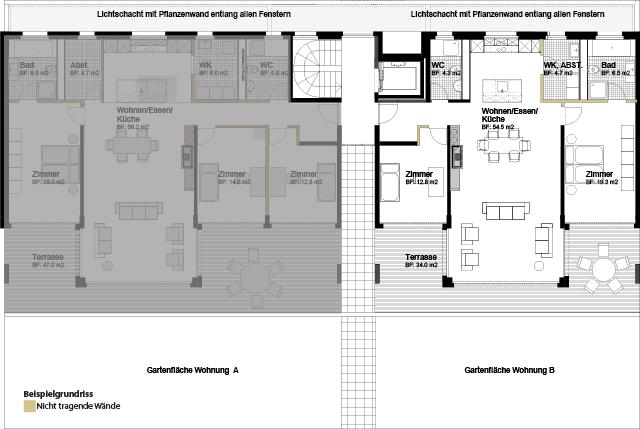 Niveau 1 3.5 Halbgeschoss-Gartenwohnung