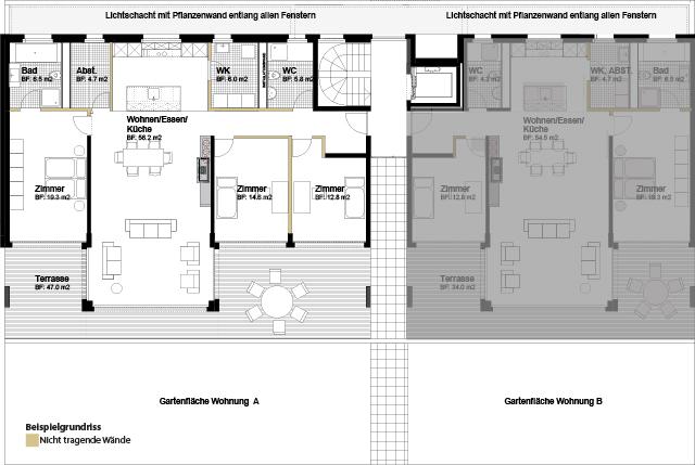 Niveau 1 4.5 Halbgeschoss-Gartenwohnung